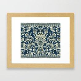 damask in white and blue vintage Framed Art Print