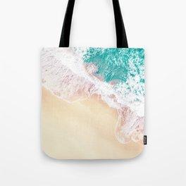 Teal and Peachy | Aerial Beach Print Tote Bag