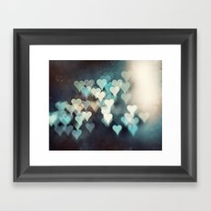 Heart Photography, Abstract Teal Turquoise Hearts Framed Art Print