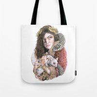 lorde Tote Bags featuring Lorde by Susan Lewis