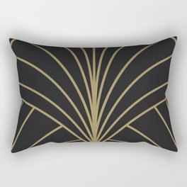 Diamond Series Floral Burst Gold on Charcoal Rectangular Pillow