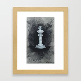 White Chess Piece | Watercolor Painting  Framed Art Print