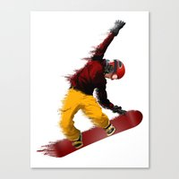 snowboarding Canvas Prints featuring Snowboarding by Boehm Graphics