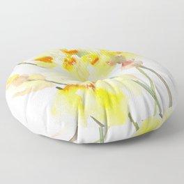 Yellow Irises, Soft yellow Floral Art Floor Pillow