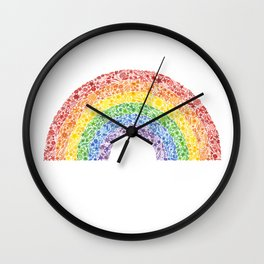 Rainbow Floral Watercolor Wall Clock