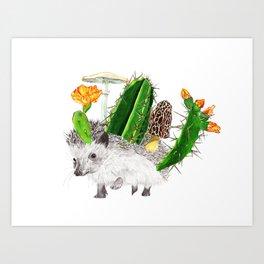 Hedgehog with Cacti Art Print