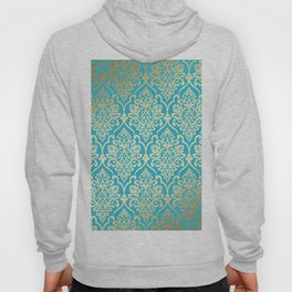 Teal Gold Mermaid Damask Pattern Hoody