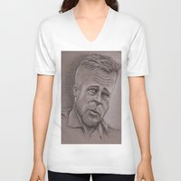 brad pitt V-neck T-shirts featuring Brad by chadizms