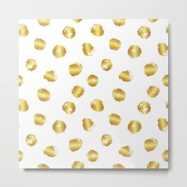 Gold blots on white Metal Print