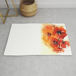 Red Poppy Flowers Watercolor Painting Rug
