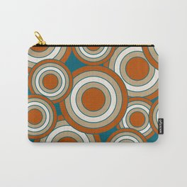 Overlapping Circles in Burnt Orange, Teal and Tan Carry-All Pouch