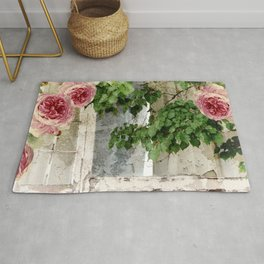Shabby Cottage Window Roses Rug