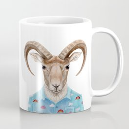 U is for a Urial with an Umbrella and Unicorn Patterned Shirt   Art Print Coffee Mug