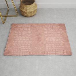Pink Alligator Print Rug