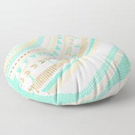 Mint + Gold Tribal Floor Pillow