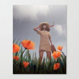 Wind rises in a poppy field Canvas Print