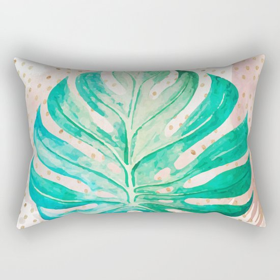 Leaf plant with golden points Rectangular Pillow