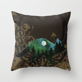 Racoon Spirit in Soft Brown,Emerald Greens and Blues Throw Pillow