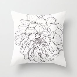 Ink Illustration of a Dahlia Throw Pillow