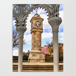 The Mckee Clock in Bangor, Ireland. (Painting) Poster