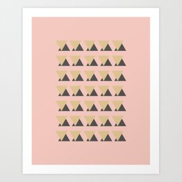 Modern Minimalist Triangle Pattern in Gold, Blush, and Charcoal Art Print