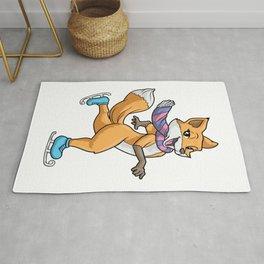 Funny fox at ice skating Rug