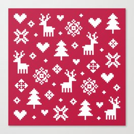 PIXEL PATTERN - WINTER FOREST RED Canvas Print