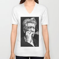 lynch V-neck T-shirts featuring David Lynch by erintquinn