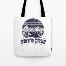 Santa Cruz CA Sunset Beach Vacation Island Vintage Black Tote Bag