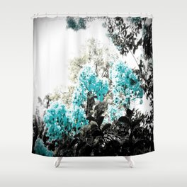 Turquoise & Gray Flowers Shower Curtain
