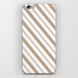 Pantone Hazelnut and White Stripes - Angled Lines iPhone Skin