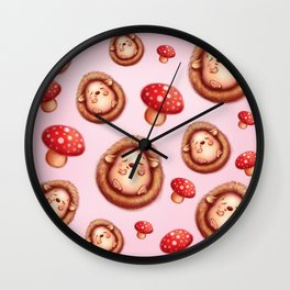 Happy Hedgehogs and Toadstool Pattern Wall Clock