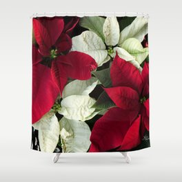 Red and White Christmas Poinsettias, Scanography Shower Curtain