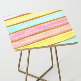 Retro Watercolor Stripes  Side Table