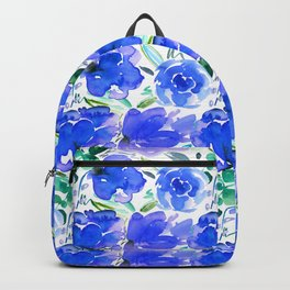 Big Blue Watercolour Painted Floral Pattern Backpack