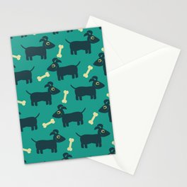 Blue Background with dogs and bones Pattern Stationery Cards