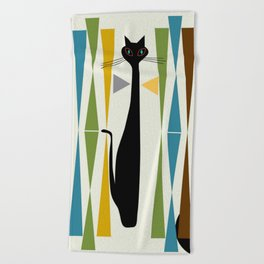 Mid-Century Modern Art Cat 2 Beach Towel