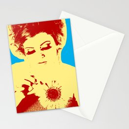 Poster with girl over blue background in pop art style Stationery Cards