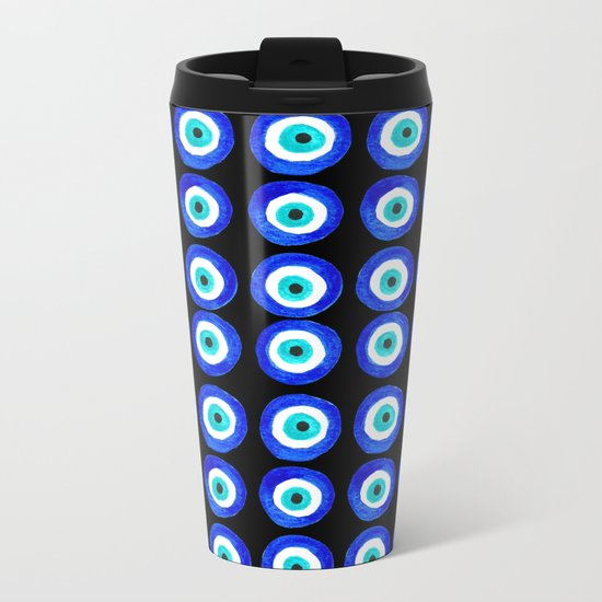 Evil Eye Talisman - on black Metal Travel Mug