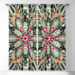 Tribal Geometric brown and green Mandala Blackout Curtain