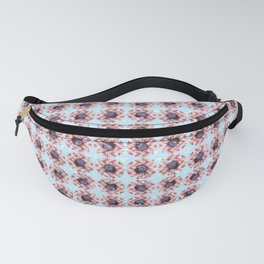 Red Chevron Daisy Floral Flowers Illustration on Pastel Blue Bokeh Fanny Pack