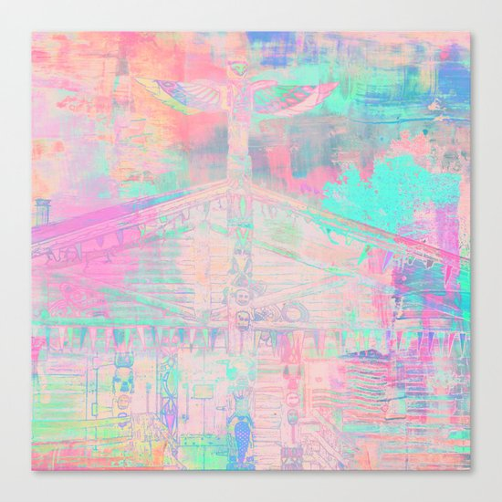 Totem Cabin Abstract - Pastel Canvas Print