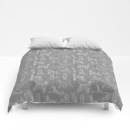 Afghan Hounds on Grey Background Comforters