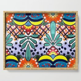 Colorful Talavera, Yellow Accent, Large, Mexican Tile Design Serving Tray
