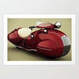 Vintage Candy Apple Red Henderson Art Deco Motorcycle Art Print