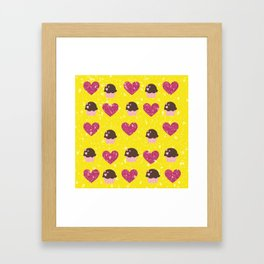 Hearts and cupcakes Framed Art Print
