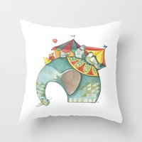 dumbo Throw Pillows featuring Dumbo  by One Golden Sun