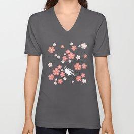 Navy blue cherry blossom finch Unisex V-Neck