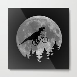 Biker t rex In Sky With Moon 80s Parody Metal Print