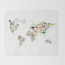 Cartoon animal world map for children and kids, Animals from all over the world on white background Throw Blanket
